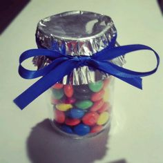 Party Favors! M's + Baby Food Jar + Ribbon + Cupcake Holder = Cheap & Easy Party Favors