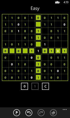 An easy Takuzu game in progress.  Please visit the Windows Phone store to download: http://www.windowsphone.com/s?appid=37cc5432-e7b6-46ea-9db6-0b6434bf0efd