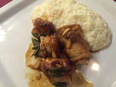 Risotto alla parmigiana, involtini di coniglio con olive taggiasche e pinoli! @mammesenzaglutine