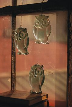 Recycled glass owls available $19.95  #owl  #glassowl #recycledglass