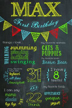 Birthday Chalkboard Poster with a Bunting! Love it! $12.50 on Etsy!