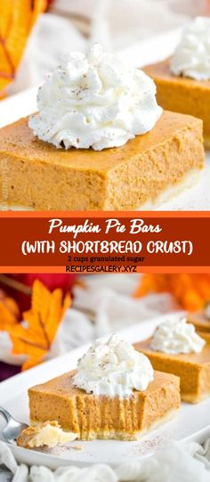 PUMPKIN PIE BARS (WITH SHORTBREAD CRUST) Holiday Snacks, Holiday Recipes, Recipes Dinner, Pumpkin Pie Bars, Pumpkin Dessert, Dessert Bars, Dessert Ideas, Sausage Pasta Recipes, Goat Cheese Pasta