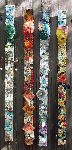 Funky Junky outdoor mosaic (pic only) Mosaic Wall, Mosaic Glass, Mosaic Tiles, Glass Art, Stained Glass, Tiling, Mosaic Floors, Mosaic Crafts, Mosaic Projects