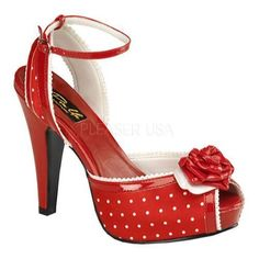 Women's Pin Up Bettie 06 Red Polka Dot Satin - Overstock™ Shopping - Great Deals on Pin Up Heels
