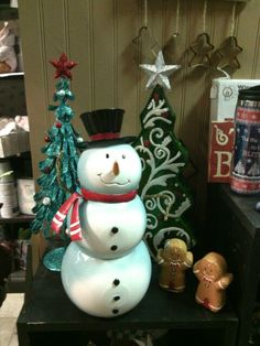 Selection of Christmas decor left up year round- Crofts floral & gifts, Dayton, wa