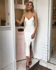 Bec & Bridge Lea Split Midi Dress in Ivory - Bec and Bridge Looks Chic, Looks Style, Grad Dresses, Evening Dresses, Midi Dresses, White Dress Summer, Summer Dresses, White Midi Dress, Looks Party