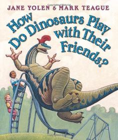"How Do Dinosaurs Play with their Friends by Jane Yolen and Mark Teague is one in a series of ""How Do Dinosaurs..."" books. A fun book perfect for the 3-6 age group that teaches as well as shows dinosaurs from a personified perspective. #preschoolbookclub #mandalasj #howdodinosaursplaywiththeirfriends #dinosaurs #friends"