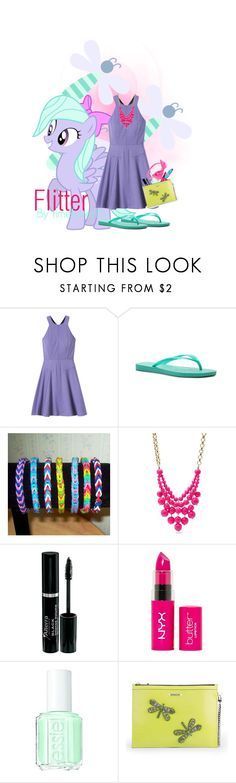 """""""Flitter"""" by spectrastarlight ❤ liked on Polyvore featuring My Little Pony, Rebecca Taylor, Havaianas, FOSSIL, NYX, Essie, Matthew Williamson, L. Erickson, dragonfly and Flitter"""