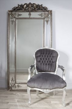 this silver ornate gilt design wall mirror is a superb statement piece for any home