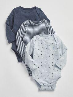 1f2b05e94e2 Gap Babies  First Favorite Long Sleeve Bodysuit (3-Pack) Navy Heather