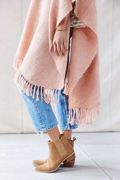 Love everything about this... the lenght of the jeans.. loose ankle boots... blanket poncho ... delicious!
