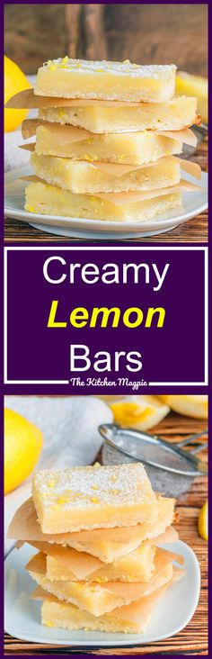 Luscious, creamy lemon bars with a shortbread type base. Are you sold yet? These are perfect for any time of the year - light, lemony and delish! Recipe from @kitchenmagpie #lemon #lemonsquares #desserts #recipe (oatmeal squares families)