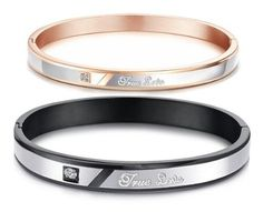 Amazon.com: His or Hers Matching Set Couple Titanium Bangle Bracelet True Love Magnetic Simple Korean Style Anti-fatigue in a Gift Box (Hers...