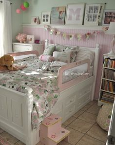 Pink and green girl/ princess room... Love it! I want a baby girl.... Build up the bed we have and add rails!  Almost identical!!!