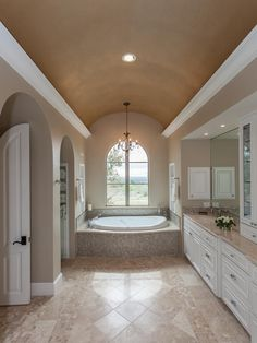 Mosaic inset on floor  Travertine Around Tub Design, Pictures, Remodel, Decor and Ideas - page 10