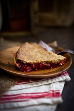 Fresh Raspberry & Basil Pie with  a flaky cinnamon crust ~ Adventures in Cooking
