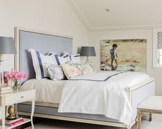 Katie Rosenfeld Design - bedrooms - beach art, beach painting, french upholstered bed, blue french style bed, ivory and blue bed, blue grosg...