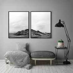 Black and White Mountain Print Minimal 2 Piece Print