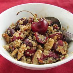 Chocolate Cherry Breakfast Quinoa HealthyAperture.com