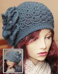 """""""2-in-1 Eyelet Cloche/Newsboy"""" by PDDesigns . . . Instructions available for purchase at http://www.artfire.com/ext/shop/product_view/4299139"""