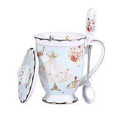 AWHOME Royal Fine Bone China Coffee Mugs Spoon and Lid Tea Cup Gift for Women Mom (Blue) * Click image to review more details.