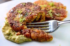 Recipe for Chickpea Cakes with Chipotle Avocado Cream at Life's Ambrosia
