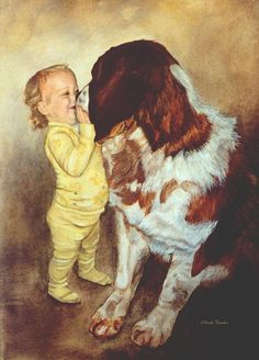 Choose your favorite saint bernard dog paintings from millions of available designs. All saint bernard dog paintings ship within 48 hours and include a money-back guarantee. Dogs And Kids, Dogs And Puppies, Canvas Art Prints, Painting Prints, St Bernard Puppy, Victorian Art, Puppy Eyes, Gentle Giant, Dog Paintings