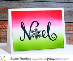 Joy clear stamps by CAS-ual Fridays Stamps Christmas Cards To Make, Christmas Settings, Holiday Cards, Christmas Decorations, Die Cut Cards, Halloween Cards, Christmas Inspiration, Clear Stamps, Hanukkah