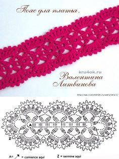 Headbands with pretty lace patterns, with their free grids! – Crochet Hats and S… Headbands with pretty lace patterns, with their free grids! – Crochet Hats and Scarves Crochet Belt, Crochet Lace Edging, Crochet Diagram, Crochet Bracelet, Crochet Chart, Crochet Scarves, Crochet Flowers, Crochet Doilies, Crochet Stitches Patterns