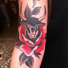 Traditional Bull Tattoo Bull head tatt... traditional