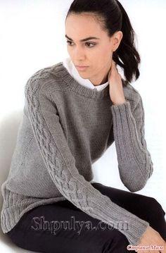 . Пуловер с аранами на рукавах, вязаный спицами
