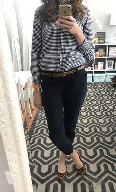 navy gingham button down, navy cropped pants, leopard belt, leopard flats, preppy - From the Family with Love