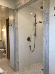 Marble master bathroom walk-in shower (no lip, no curtain, no door-love it!)