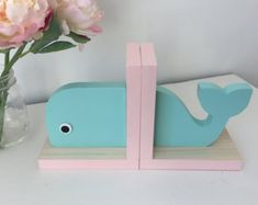 Pretty little whale bookends for the #nursery #kidsroom #decor #afflink