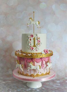 Pink Carousel 1st Birthday Cake