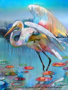 BLUE MANGROVE zilverreiger - Fine Art Print op geweven papier of Canvas Dit is een prachtige afdruk die aan elke kamer toevoegen zou of u een hedendaagse thema of een moderne tropische look maakt. De grote zilverreiger is een majestueuze vogel te beginnen en als geschilderd in deze semi-abstracte stijl de illustratie komt tot leven met kleur, beweging en expressie.  Hand ondertekend door de kunstenaar - Tim Parker  ::: VIJF VERSCHILLENDE MATEN:::  Afbeeldingsgrootte: 9,5 x 12,5 op Fine Art…