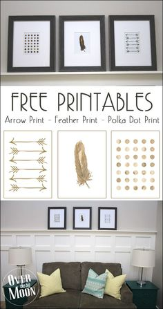 Gold Arrow, Feather and Polka Dot Print Set in 5x7's and 8x10's | Over the Big Moon