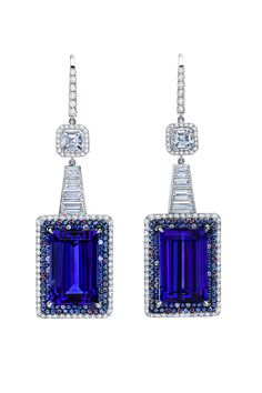 Deco Tanzanite Earrings. Tanzanite baguettes weighing a total of 25.71cts accented with 8 graduating trapezoid diamonds and 2 asscher diamonds. Microset with 160 round diamonds, 136 blue sapphires and 16 purple sapphires. Set in 18kt white gold. #martinkatzjewels #tanzaniteearrings #newyorkcollection #blueearrings #luxuryjewelry #luxurylifetsyle #highjewelry #highendjewelry #inspiredbynewyork #uniqueearrings #uniquejewelry #designerjewelry #designerearrings #beverlyhills #womensjewelry #bridal Art Deco Jewelry, Modern Jewelry, Luxury Jewelry, Fine Jewelry, Jewelry Design, Jewelry Box, Jewellery, Tanzanite Earrings, Sapphire Jewelry