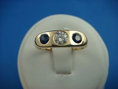 !STRIKING GYPSY SAPPHIRE AND DIAMOND RING SOLID BACK 4.3 GRAMS SIZE 5 1/2