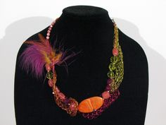 Woven enamel wire, feather, jasper, crystal necklace