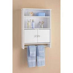 White 2 Door Wall Cabinet With Open Storage And Towel Bar Home Pinterest