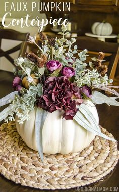 tutorial to create your own faux pumpkin floral centerpiece with a craft pumpkin that you can use year after year!Great tutorial to create your own faux pumpkin floral centerpiece with a craft pumpkin that you can use year after year! Pumpkin Vase, Pumpkin Crafts, Pumpkin Bouquet, Diy Pumpkin, Autumn Decorating, Pumpkin Decorating, Fall Decorating, Thanksgiving Centerpieces, Thanksgiving Table