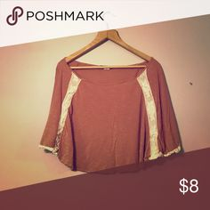 Short sleeve tunic Cute tunic top with cream colored lace detail around sleeves. Pale rust/peach color. Love Culture Tops Tunics