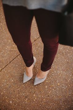 grey suede and oxblood via @mystylevita