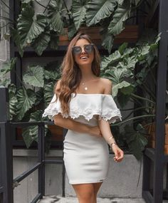 white off shoulder short homecoming dress - Look Fashion, Fashion Outfits, Womens Fashion, Vestidos Color Blanco, Pretty Outfits, Cute Outfits, White Off Shoulder, Dress For You, Homecoming Dresses