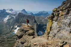 On Mount Reynolds with the Dragon's Tail beyond, Glacier National Park, Montana.