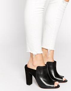 Enlarge ALDO Cornelina Black Leather Mule Heeled Sandals