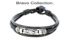5B-507 Sterling Silver Blue Tigers Eye Leather New Bangle Wristband Men Bracelet