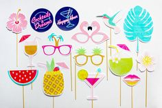 Tropical Party Props, Cocktails and Dreams Photo Booth Props, Pineapple, Hawaiian Luau Decorations, Party Printable | INSTANT DOWNLOAD by CreativeSenseCo on Etsy https://www.etsy.com/listing/253535547/tropical-party-props-cocktails-and