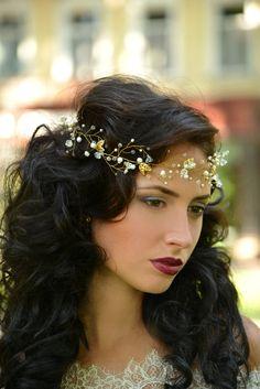 wedding crown wedding tiara bridal crownpearl by Angellure on Etsy